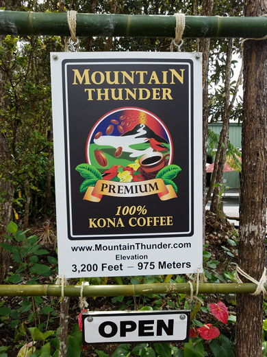 Look for Mountain Thunder sign 3.1 miles above Mamalahoa Hwy.
